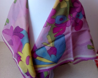 Scarf/Wrape, 28''x28'' square,flowers, pre-owned
