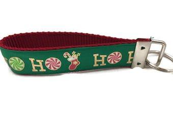 Christmas Keychain, Green Ho Ho Ho, Key fob, Wristlet