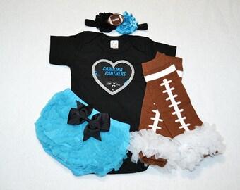 carolina panthers baby girl outfit - baby girls panthers outfit - carolina panthers baby girl football outfit - panthers football baby girl