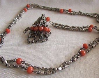 Sterling Silver and Pink Coral Tassel Necklace