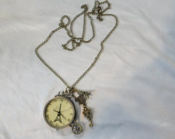 Steampunk Pocket  Pendant Watch Necklace Eiffel Tower