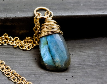 Labradorite Necklace, Gold Necklace, Wire Wrapped, Labradorite Jewelry, Gold Jewelry, Gemstone Jewelry, PoleStar, Midnight Blue