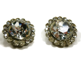 2 Clear Rhinestone Buttons, Silver and Rhinestone Buttons, Pair of Vintage Buttons, Wedding Jewelry, Assemblage Supplies
