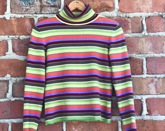 Vintage 90s Multi-Color Turtleneck Top/Sweater- Women's Small