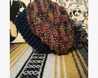 Handmade crochet slouchy hat w/ pompom