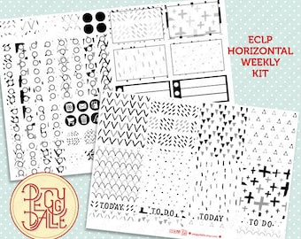 Neutral Pattern Weekly Kit Planner Stickers | Erin Condren Horizontal | ECLP