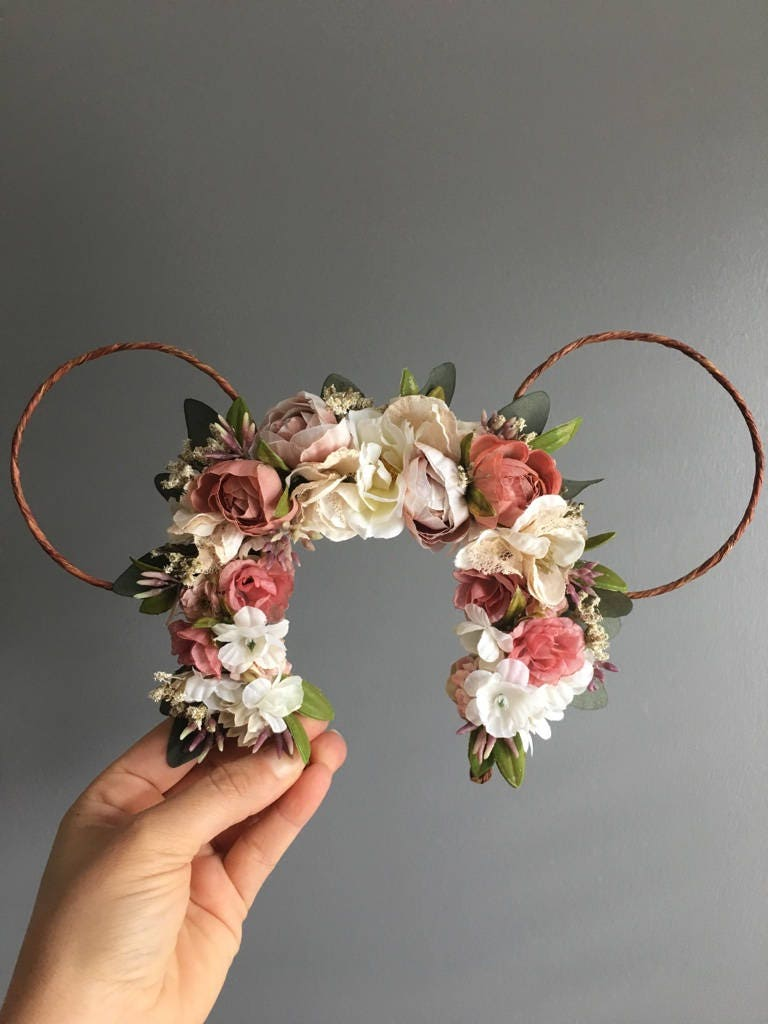 Minnie ears flower crown floral minnie mouse ears baby photo prop minnie ears flower crown floral minnie mouse ears baby photo prop birthday crown flower crown minnie mouse ears photo prop izmirmasajfo