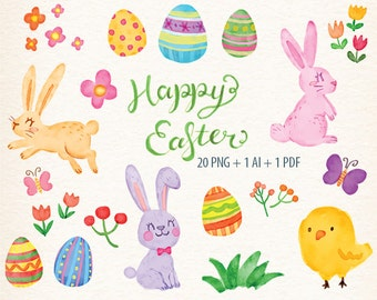 watercolor Easter clipart, Easter rabbit clip art, Easter bunny clipart, Easter Egg Clipart