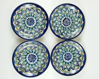 Low-priced plate set flower, hand painted plate, small blue plates set, plates set ceramic, serving plate, handmade plate J