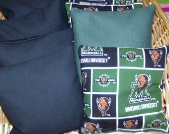 8 PC Marshall's Thundering Herd with Navy Duck Canvas Corn Hole Game Bags