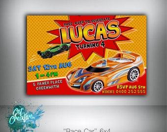 Race Car birthday invitation - digital file supplied
