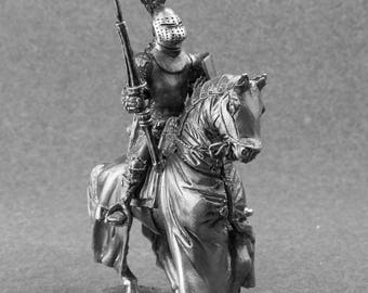 Toy Collectors 1/32 Scale Mounted Knight with Lance and Shield Cavalry Unpainted Soldier 54mm Metal Miniature Figure Sculpture