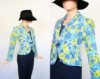 Vintage 60s Floral Jacket / 1960s Flower Print Blazer / Spring Cardigan Top / Woven Sack / Small / Medium