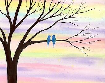 Tweet Love - Original watercolor painting
