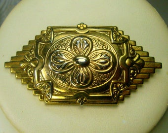 Early Victorian Style Pin, Gold Art Deco & Art Nouveau Crossover Brooch, man or Woman