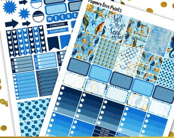 50%off SEA AND SAND  Printable Planner Stickers | Instant Download | Pdf and Jpg Format