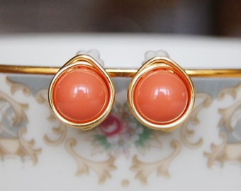 Orange Coral Earrings , Bridesmaid Earrings , Orange Studs , Gold Wire Wrapped Post Earrings