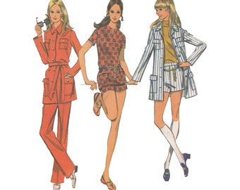 1960s Easy Jacket, Flared Pants and Pull Over Top McCalls 2242 Vintage Sewing Pattern Safari Suit Mod Hot Pants Size 12 Bust 34