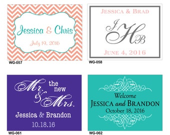 120 - 4x3 Glossy Waterproof Wedding Rectangle / Welcome Bag Stickers - hundreds of designs to choose - change design to any color or wording