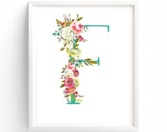 Letter F, Wall Art, Nursery Prints, Printable Letter Monogram, Floral, Flower Lettering, Nursery Art, Baby monogram