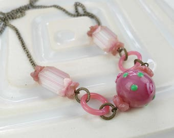 Pink Bead Necklace, Pink Glass Necklace, Gift for Women, Deco Bead Necklace, Sweet Pink Necklace, Mother's Day Gift, Repurposed Necklace
