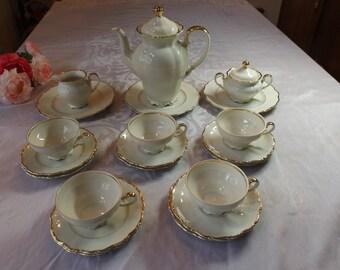 Seltmann Weiden E.Bavaria Theresia vintage Porcelain tea or coffee set service for 5 , total 23 pieces . Home decor Gift Wedding