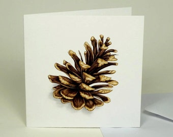 Woodland Pine Cone Painting, Forest Finds Large Luxury Greeting Card, Pinecone Picture, Botanical Watercolor, Nature Art