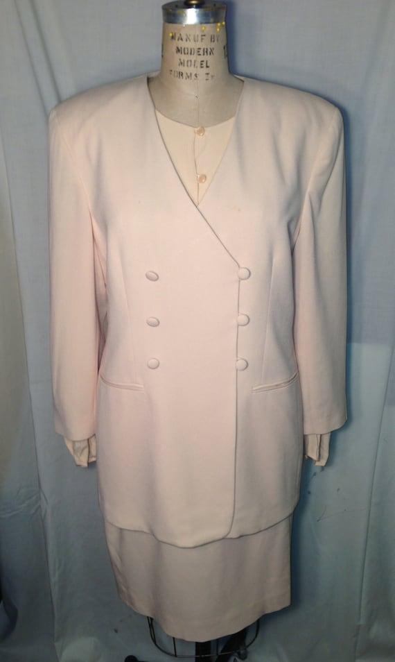 Vintage 80s Beige Three Piece Suit by Jones New York Size 14-16 t12