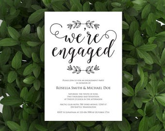 Engagement Party Invitation, Engagement Dinner, We're Engaged, Wedding Engagement Invite, Engaged Announcement Printable, WPC_684