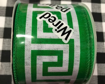 """INSTOCK....5 yarda of Green and White Greek Key Canvas style  2.5"""" wide Wired Ribbon........NEW"""