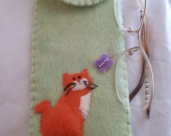 Orange Kitty Cat Butterfly Hand Sewn Felt Applique Glasses Case