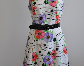 handmade sleeveless thick polyester floral lined vintage dress