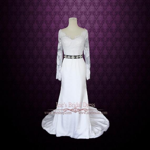 Mantel Spitze Hochzeitskleid mit langen Ärmeln Column
