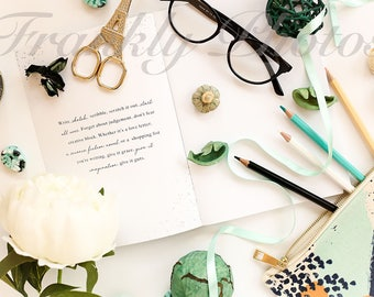 Navy & Green Lifestyle Stock Image / Stock Photo / Styled Stock Photography / Styled Desktop / Artwork / Flatlay / Frankly Photos File #30
