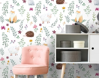 Forest Animals Wallpaper, Woodland Animals Repositionable Removable Fabric Wallpaper, Nursery Kids Room Decor, Peel and Stick, Self Adhesive