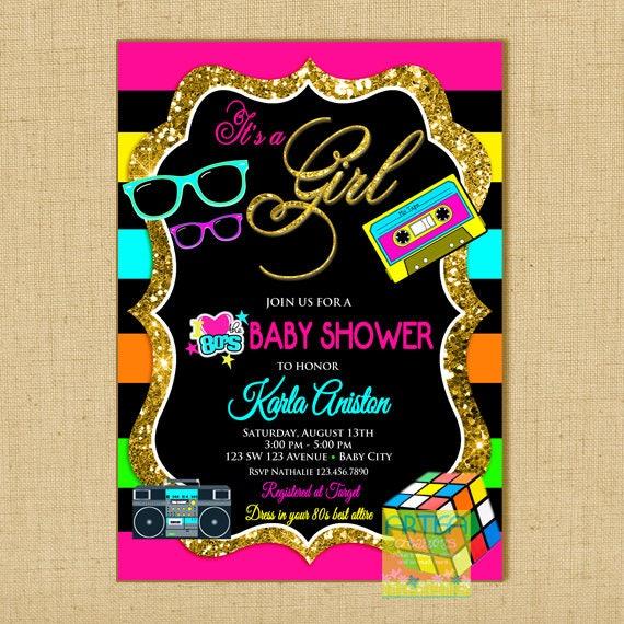 80s baby shower invitation eighties baby shower invitation I