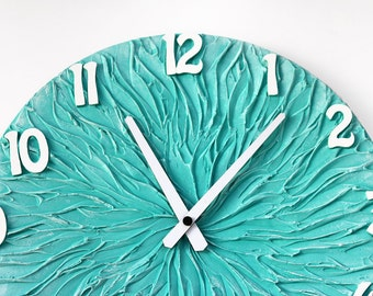Turquoise WALL CLOCK, Large Clock, turquoise wall decor, turquoise home decor, Beach House Home Decor, Modern Wall Clock,  Unique wall clock