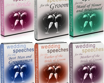 Wedding Speeches,Collection Guide, eBook Digital,Instant Download,Bride,Groom,Best Man and Groomsman,Mother of the Bride/Groom,Maid of Honor