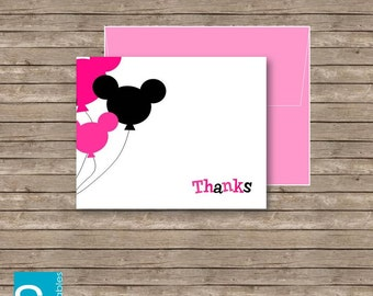 Mickey Mouse Thank you Card Printable DIY Pink
