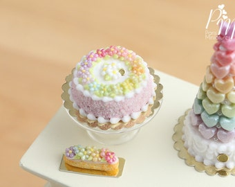 MTO -Rainbow Blossoms Cake - Pink (Rainbow Collection) - Miniature Food for Dollhouse 12th scale 1:12