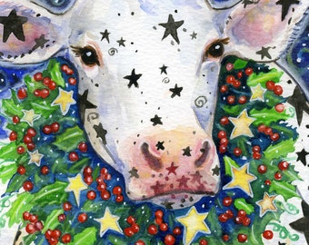 """BREN """"Holly"""" Cow - 6x7 Whimiscal Winter Christmas Cow Print"""