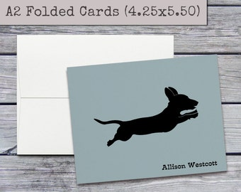 Personalized Stationery Set - Dachshund Stationary - Custom Doxie Stationery, Personalized Notecards Set, Custom Gift, A2 Folded Note Cards