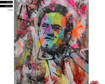 """Johnny Cash - Pop Art Portrait - (90x70cm) 35.4""""x27.6"""" FREE SHIPPING acrylic painting ready to hang, hand painting by Carlos Pun"""