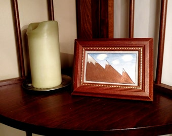 Framed 'Mountain Peaks' illustration - 4 x 6""