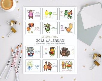 60% OFF SALE!! 2018 Calendar + Bonus Month - Illustrated calendar of animals + vegetables - wall calendar, desk calendar, monthly calendar