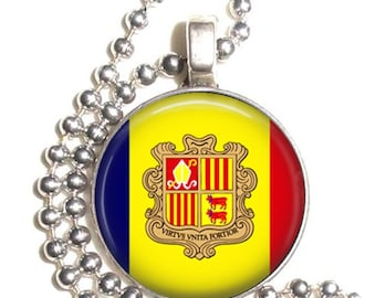 Andorra Flag Altered Art Pendant, Earrings and/or Keychain, Round Photo Silver and Resin Charm Jewelry, Flag Earrings, Flag Key Fob