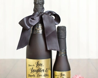 Champagne Labels \\ Wedding Favors \\ Gift \\ Mini or Regular Size