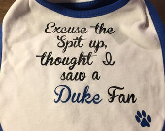 UK bib | Excuse the spit up, thought I saw a Duke fan | Fun baby gift
