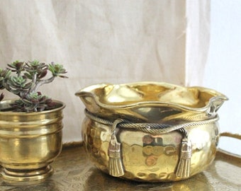Small Vintage Decorative Brass Planter Pot