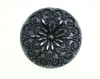 Antique Czech Glass Button, Antique Button, Czech Glass Button, Dark Gray/Blue Button, Etch Flower Design.